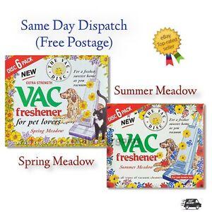 2x 6 PACK Vac Disc Air Freshener SPRING &SUMMER Vacuum Cleaner Pet Lovers Hoover
