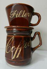 Vintage Coffee Maker 2-Pc Handcrafted Mug/Filter Brown Glazed Ceramic BNIB