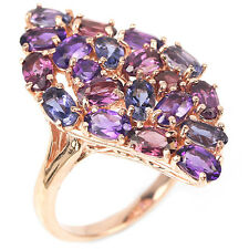 Sterling Silver 925 Rose Gold Plated Amethyst Rhodolite Iolite Ring Sz N1/2 US 7