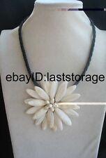 "white sea shell flower & freshwater pearl  flower handmade  necklace 18"" nature"