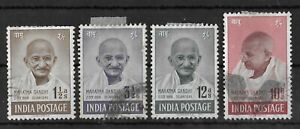 INDIA 1948 Used Ghandi Complete Set of 4 Stamps SG #305-308 CV £140