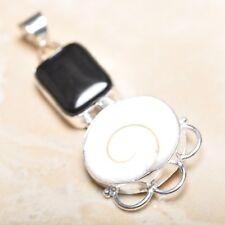 "Handmade Shiva Eye Shell Gemstone Pure 925 Sterling Silver Pendant 2.5"" #P14406"