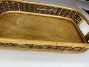 "Vintage Boho Bamboo Rattan Wicker Serving Storage Tray Handles Wood Retro 15""x10"