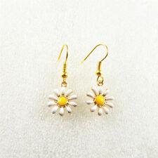 1Pair Golden Alloy Hook Colorful Sun Flower Earrings Dangle Jewelry Ear Wires
