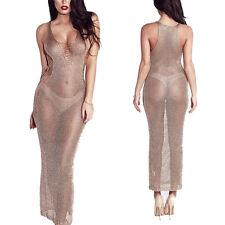 New Arrival Knit Beachwear Bikini Cover-up long summer dress half transparent