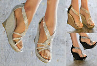 WOMENS DIAMANTE WEDGE HIGH HEEL STRAPPY ANKLE STRAP EVENING PROM SHOES SIZES 3-8