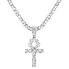"Ankh Cross Pendant Silver Plated Iced Stone 24"" Tennis Chain Necklace TMP 722 S"