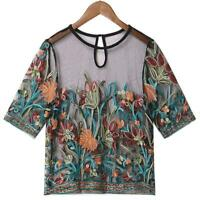 Ladies Short Sleeve Embroidered Mesh Floral Casual Summer Beach Transparent Tops