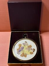 Real Pressed Flowers-The Miniature World of-Peter Bates-Glass Medallion-Vintage