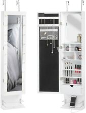 White Wall Mounted Armoire Makeup Jewelry Hair Accessories LED Storage Organiser