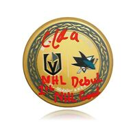 "Cody Glass Signed Inscribed ""1st Goal & NHL Debut"" Matchup Puck BAS COA Vegas"