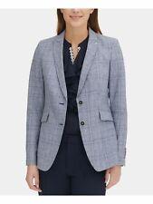 TOMMY HILFIGER $139 Womens New 0110 Blue Plaid Blazer...