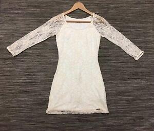 Abercrombie & Fitch 3/4 Sleeve Cotton Lace Bodycon Mini Dress Ivory Cream XS