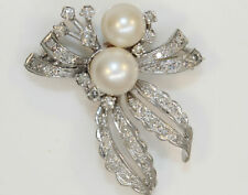 VINTAGE 14K WHITE GOLD BROOCH WITH PEARLS AND DIAMONDS #J8