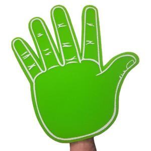 HI FIVE GIANT GREEN FOAM HAND - BIG FOAM FINGERS PALM - FOOTBALL CHEERING GIFT