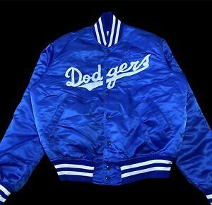 Vintage 1980's Men's LA Dodgers Blue Satin Bomber Jacket Snap Closure USA Large