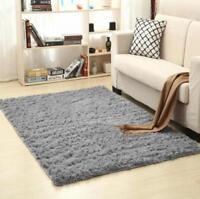 2019 Large Shaggy Floor Rug Plain Soft Sparkle Area Mat Thick Pile Glitter