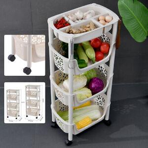 4 Tier Plastic Multi-Function Storage Unit  Shelf Rack Storage Basket Kitchen uk