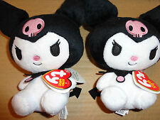 LOT of 2 Sanrio Kuromi Plush Doll  BEANIE BABY Ty skull gothic NEW