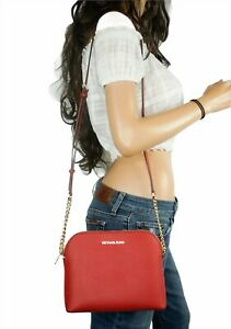 MICHAEL KORS CINDY LARGE DOME CROSSBODY BAG SAFFIANO LEATHER RED