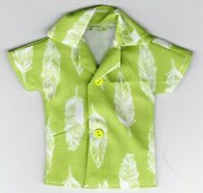 Homemade Doll Clothes-Green With Cool Feathers Print Shirt that fits Ken Doll B4