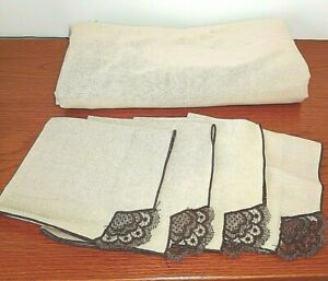 Tan Tablecloth with 4 Matching Lace Napkins 50x53 Card Table Cloth Tea Party VTG