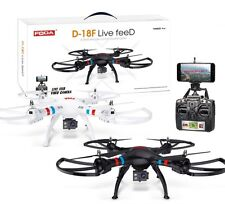 D-18F Radio Controlled HD 1080p Live Feed Drone 2.4GHZ 6-Axis Quadcopter White