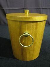 "Vintage Danish Modern Teak Ice Bucket with Aluminum Interior Super Clean 10"""