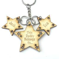 Personalised Mothers Day Gifts For Daddy Dad Grandad Star Keyring Father's