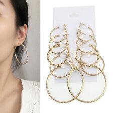 5 Pair Trendy Circle Big Earrings Gold Simple Thin Hoop Earrings for Women Girl