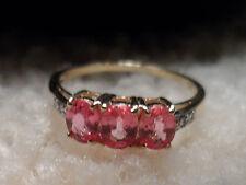 100% Authentic Sri Lanka 9K Padparadscha Sapphire Gold Ring Very RARE GEM