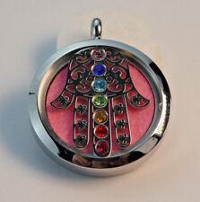 New Chakra Hamsa Hand, Diffuser Necklace Locket Stainless Still 10ml Oil 11Pads