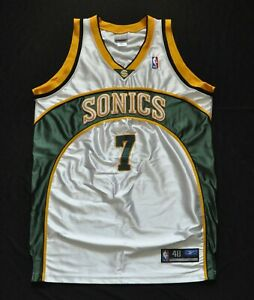 RASHARD LEWIS SEATTLE SONICS REEBOK AUTHENTIC JERSEY WHITE NBA SEWN 48 XL SHINY