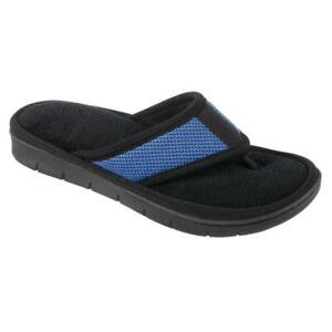 ISOTONER Women's Black & Robin Blue Scout Mesh Thong House Slippers Sturdy Sole