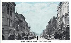 HUNTINGTON, IN Indiana   N JEFFERSON STREET SCENE    c1910s  Cars   Postcard
