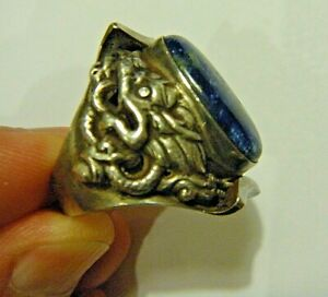 Large Vintage Men's Sterling Silver Ring with Blue Lapis and Dragons sz 9