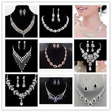 Crystal Diamante Rhinestone Wedding Bride Bridal Necklace Earrings Jewellery Set