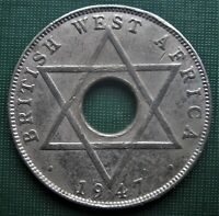 BRITISH WEST AFRICA 1947 One Half Penny 1   2 Cent Six Point Star Coin LOW SHIP