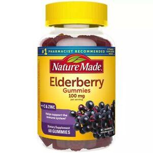 Nature Made Elderberry 100mg with Vitamin C & Zinc Gummies-60ct-Raspberry ex8/22