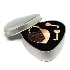 Liebesschloss Geschenkset Dose Herz roségold individuelle Gravur 2 Schlüssel