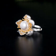 A04 Ring Bloom with White Pearl Silver 925 Gold Plated Stamens Adjustable