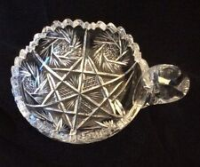 Brilliant Clear Cut Glass Candy Dish~One Handle Pinwheel-Starburst