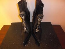 Gianmarco Lorenzi Black Swarovski Crystal Angel Ankle Boots Size 37 IT 7 US