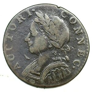 1787 4-L Horned Bust Connecticut Colonial Copper Coin