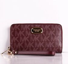 Michael Kors Jet Set Signature Flat MF Phone Holder Wallet ID Card Wristlet New