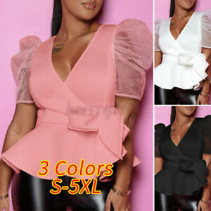 Womens Sexy Shirts Elegant Solid Blouse Evening Party Tee Loose Casual Pulllover
