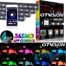 4x RGB Glow 16 Color LED Interior Under Dash Seat Footwell Light 36 LEDs USB APP
