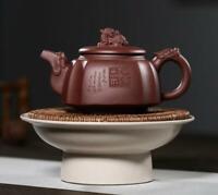 Chinese Yixing Zisha Pottery Purple Clay Handmade Dragon Head Four Sides Teapot
