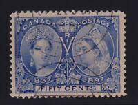 Canada Sc #60 (1897) 50c ultramarine Diamond Jubilee VF Used