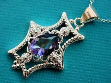 925 Sterling Silver Pendant With Natural Pear Cut Rainbow Topaz (nk0991)